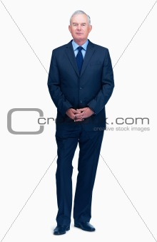 Full length portrait of an old business man isolated over white