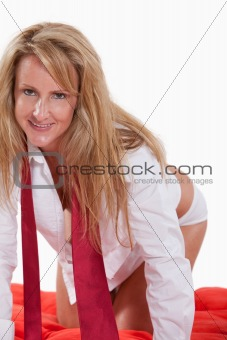 Attractive forties caucasian blonde woman