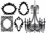 old chandelier and picture frames, vector
