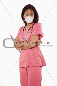 Attractive thirties asian woman doctor nurse