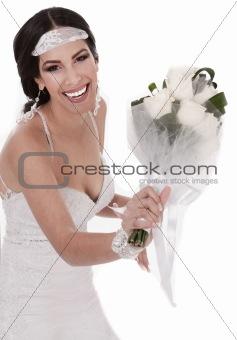 Bride throwing boquete