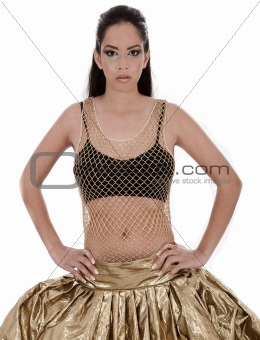 Cute young female posing in belly dancer costume