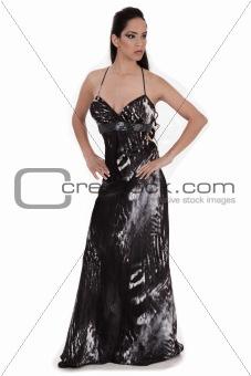 Beautiful woman in a full black costume