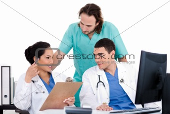 Group of doctors in a meeting at the hospital