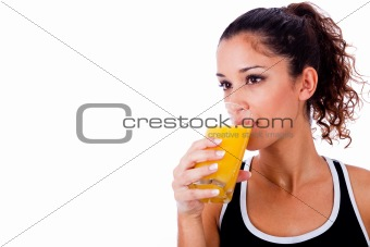 fitness girl drinking fresh juice