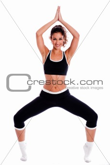 Fitness women in yoga pose