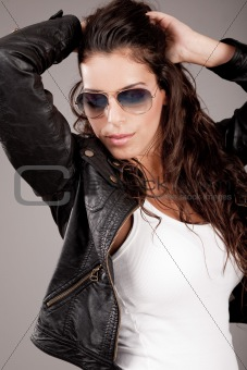 Attractive model wearing sunglasses