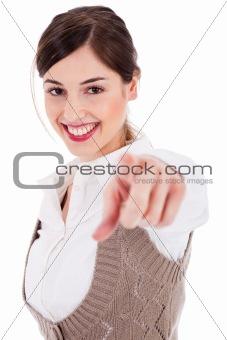 Portrait of young brunette women smiling