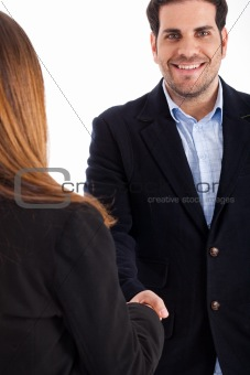 Business man welcomed by women man on focus