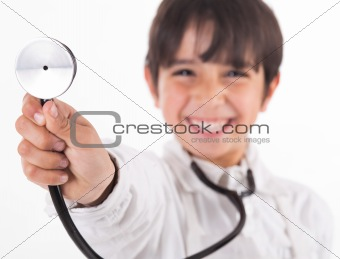 Little doctor showing his Stethoscope