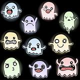 Set of 10 Cute Glowing Ghosts
