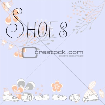Inscription SHOES with floral ornament