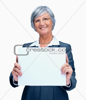 Elderly business woman with a blank billboard on white