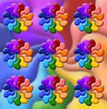 illustration of   rainbow flowers