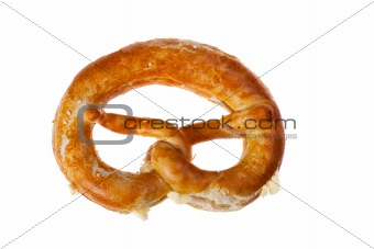 bavarian pretzel with butter isolated on white