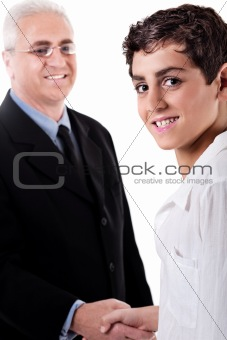 Business man handshake with a young boy