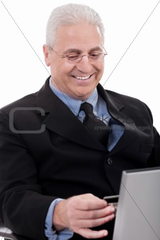Business man doing internet banking