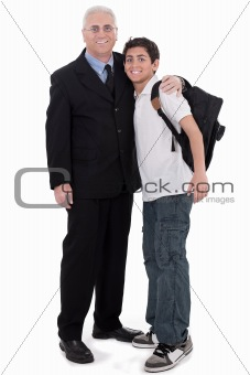 Old business man embraces a teenager