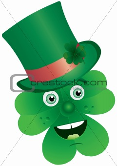 Clover with face in top-hat