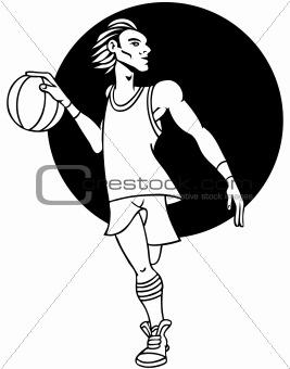 Basketball Player Line Art