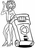 Recycling Bin Woman Line Art