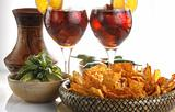 Sangria, tortilla chips and mole