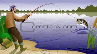 fish and fisherman