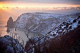 Winter evening sea.