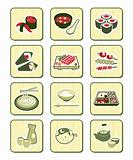 Japanese sushi-bar or restaurant icons | BAMBOO series