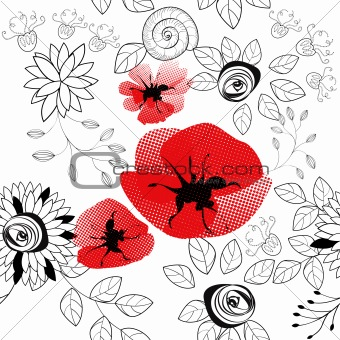 abstract floral seamless pattern with poppy