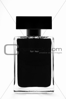 black parfum bottle isolated on white