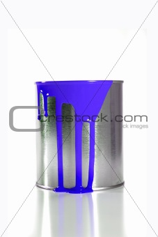 a messy blue paint bucket