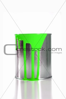 a messy green paint bucket