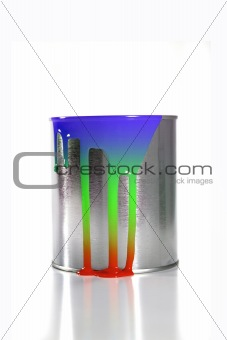 a messy colorful paint bucket