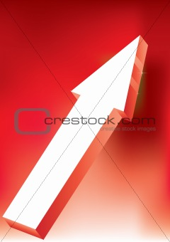 Arrow on red background