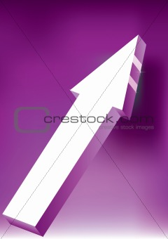 Arrow on purple background