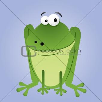 Sitting cartoon frog
