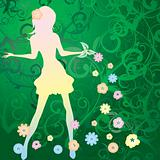 Girl on spring background