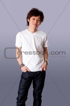 Smiling Asian man in white shirt
