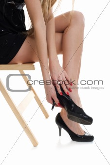 beautiful legs with black shoe
