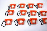large group of retro telephones