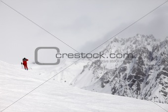 Skier on top of the mountain