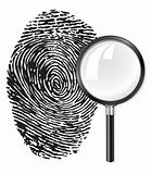black fingerprint and magnifying glass loupe