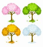 set of trees from different seasons