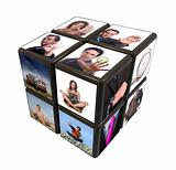 cube with many images on a white background