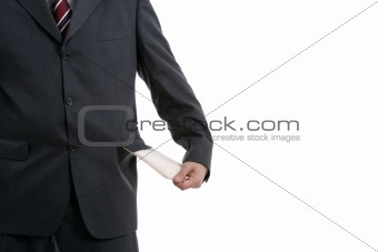 man with empty pocket, isolated on white background