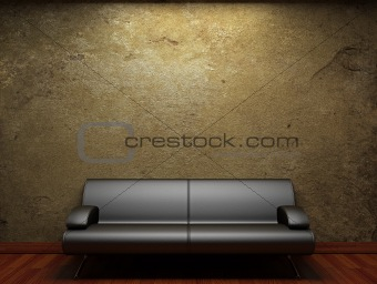 old concrete wall and sofa