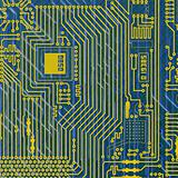 Circuit board electronic golden - blue background