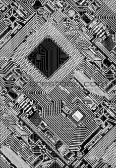 Circuit board electronic monochrome background
