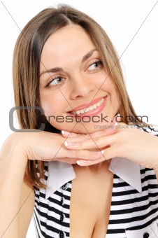 Positive young woman over white background